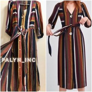 ❤️ZARA LONG STRIPED DRESS WITH BUTTONS